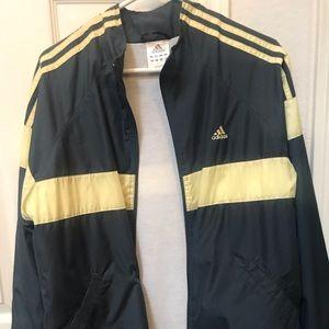 large Adidas windbreaker.  Navy blue/yellow